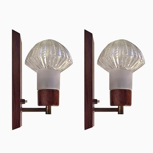 Danish Rosewood, Brass & Glass Sconces by J. Sommer, 1960s, Set of 2