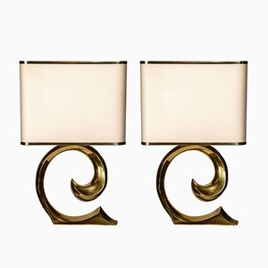 Vintage Wave Brass Table Lamps, Set of 2