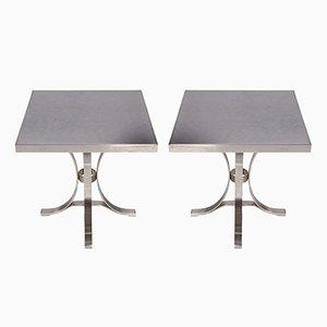 Vintage Stahl Tische von Maison Jansen, 2er Set