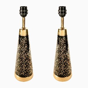 Vintage Black & Gold Ceramic Table Lamps, Set of 2