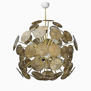Italian Murano Glass & Brass Sputnik Chandelier, 1980s