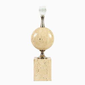 Travertin Tischlampe von Maison Barbier, 1970er