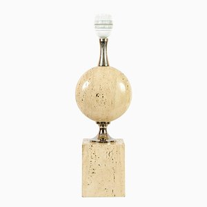 Travertine Table Lamp by Maison Barbier, 1970s