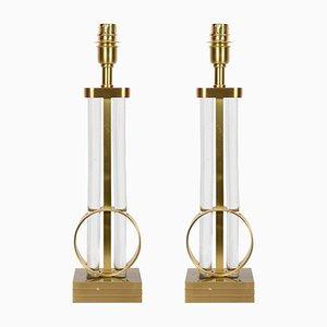 Lampade vintage in bronzo e cristallo, set di 2