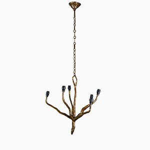 Mid-Century Bronze Chandelier from Arlus