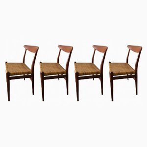 Vintage Danish Teak W2 Dining Chairs by Hans J. Wegner for Madsens, Set of 4
