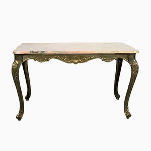 French Marble & Brass Coffee Table, 1960s