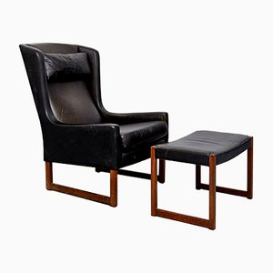 Vintage Wingback Chair & Ottoman by Rudolf B. Glatzel for Kill International