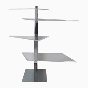 French Angular Lucite & Chromed Steel Display Stand, 1970s