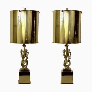 Bronze-Lampen von G. Papineau, 1970er, 2er Set