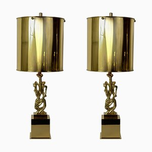 Bronze Lamps by G. Papineau, 1970s, Set of 2