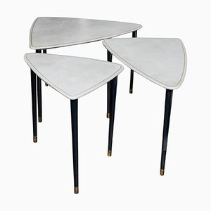 Leather & Lacquered Wood Tables, Set of 3