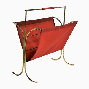 Vintage Brass Magazine Rack in Red Vinyl, 1960s