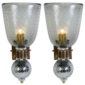 Vintage Murano & Mercury Glass Sconces, Set of 2