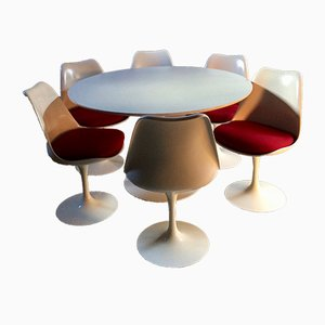 Mid-Century Tulip Dining Table & 6 Dining Chairs by Eero Saarinen for Knoll International, 1970s
