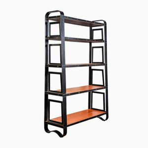 Vintage Stitched Leather Bookcase by Jacques Adnet