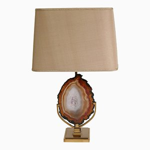Vintage Brass Table Lamp with Agate