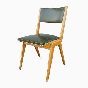 Französischer Stuhl aus hellem Holz & grünem Skai, 1950er