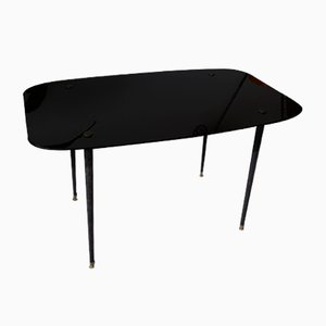 Mid-Century Coffee Table in Black Glass