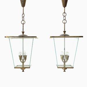 Lampes à Suspension Mid-Century Moderne en Laiton, Italie, 1940s, Set de 2