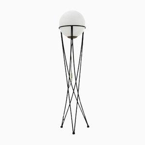 Lámpara de pie italiana Mid-Century Modern con pantalla esférica