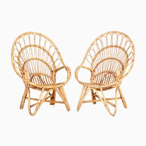 Rattan Lounge Chairs from Rohé Noordwolde, 1960s, Set of 2