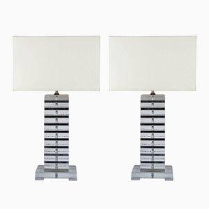 Lampes de Bureau en Verre Murano avec Détails en Métal Chromé, 1980s, Set de 2