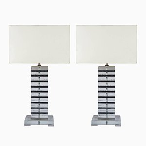 Murano Glass Table Lamps with Chromed Metal Details, 1980s, Set of 2