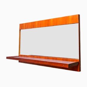 Espejo modernista vintage con estante de formica azul