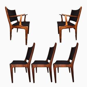 Vintage Esszimmerstühle aus Palisander von Johannes Andersen für Uldum, 5er Set
