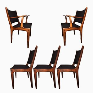 Vintage Rosewood Dining Chairs by Johannes Andersen for Uldum, Set of 5