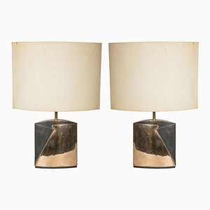 Pieds de Lampe de Bureau Vintage en Bronze par Esa Fedrigolli, Set de 2