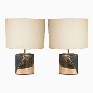 Vintage Tischlampe mit Bronzefüßen von Esa Fedrigolli, 2er Set