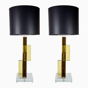 Pieds de Lampe de Bureau Vintage en Verre Murano, Set de 2