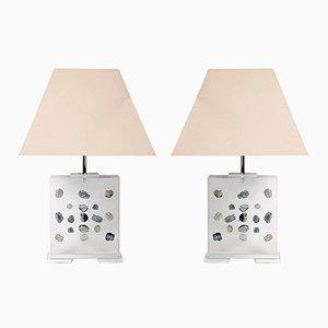 Lampade da tavolo vintage in lucite di Romeo Paris, set di 2