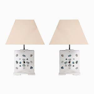 Vintage Lucite Table Lamps by Romeo Paris, Set of 2