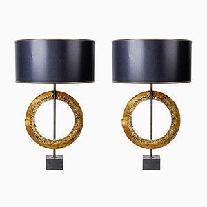 Vintage Brutalist Table Lamps, Set of 2