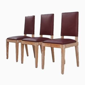 Chairs by Charles Dudouyt, 1940s, Set of 3