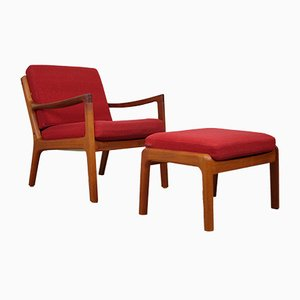 Mid-Century Senator Lounge Chair & Ottoman by Ole Wanscher for Cado
