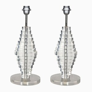 Vintage Lucite Lamps, Set of 2