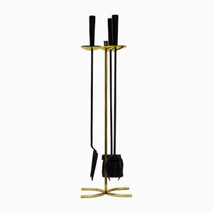 Brass & Metal Sword Fireplace Set by Gunnar Ander for Ystad-Metall, 1950s