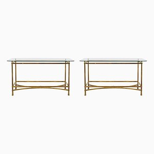 Brass and Glass Console Tables, 1970s, Set of 2