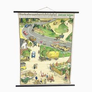 Póster escolar alemán vintage sobre el tráfico agrícola