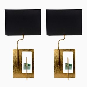 Vintage Brutalist Table Lamps, Set of 2