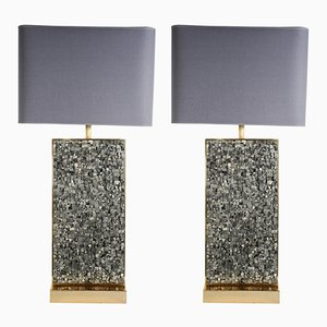 Vintage Pyrite Lamps by Georges Mathias, Set of 2