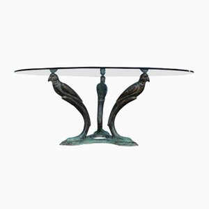 Mid-Century French Brass Coffee Table with Bird Motif