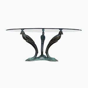 Table Basse Mid-Century en Laiton avec Motif Oiseau, France