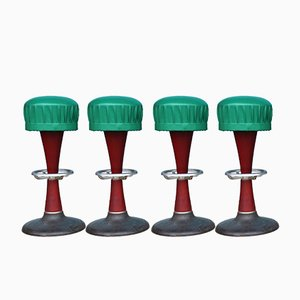 Solid Mahogany Bar Stools, 1940s, Set of 4