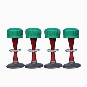 Tabourets de Bar en Acajou Massif, 1940s, Set de 4