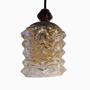 Skandinavische Vintage Hängelampe aus Kristallglas, 1960er
